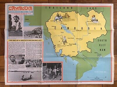 VINTAGE Cambodia Poster VINTAGE Cambodia Map Pictorial Scholastic School Map