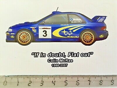 "Sticker / Aufkleber, Subaru Impreza WRC, Colin McRae, ""if in doubt, flat out"""