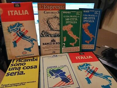 Old Folding Maps Of ITALY from The 70's & 80's