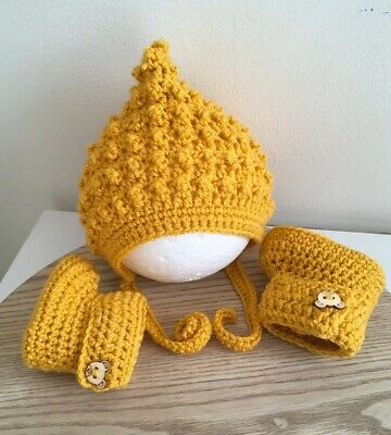 Newborn To 3 Months Crochet  /Knitted Baby Pixie Bonnet And Bootie Set