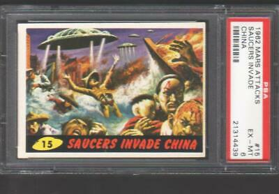 1962 Mars Attacks- #15 Saucers Invade China  ****  Psa Graded Ex-Mt 6