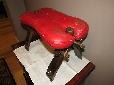 Vintage Red Leather Middle Eastern Camel Saddle Seat Antique Egyptian S Arabia