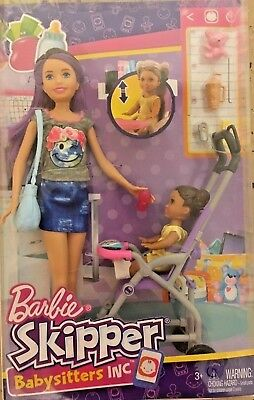 New Barbie Babysitters Play set and Skipper Doll and baby