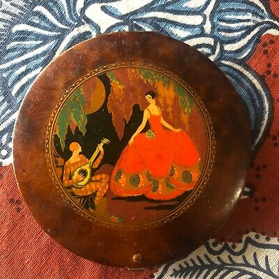 Vintage Art Deco Jazz Age HarleQuin Faux Tortoise Shell Compact Nr