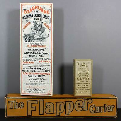 3 Vintage Boxes: FLAPPER CURLER - ZOAGRIAINE - DEXTER YARNS ALL WOOL