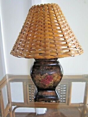 Lovely Vintage Art Deco Style Ceramic Table Lamp with Cane Shade & Floral Motif