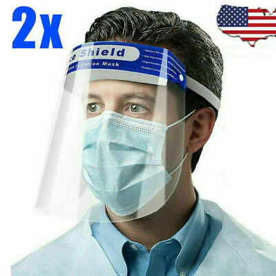 2PCS Safety Protective Splash Proof Shield Head-mounted Face Eye Shield Clear US