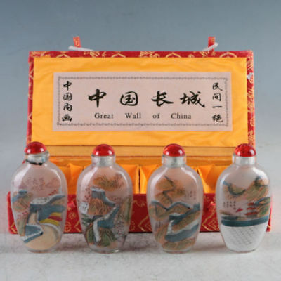 Rare Chinese Glass Inside Hand-Painting  Painted Great Wall China Snuff Bottles