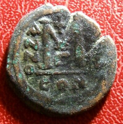 BYZANTINE EMPIRE Justin II Æ Follis Justin and Sophia Rare double strike coin