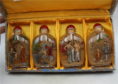 Exquisite Old Chinese Glass inside Hand-Painted Man and woman Snuff Bottles