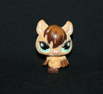 Littlest Pet Shop LPS Tan & Brown FUZZY BAT #820 Blue Sun Eyes vampire flocked