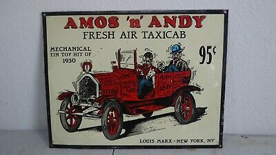 """AMOS /'N/' ANDY FRESH AIR TAXI TOY ADVERTISING 10⅛/""""x 13⅛/"""" TIN SIGN"""
