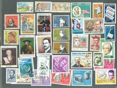 Literature-Authors collection 100 all different stamps