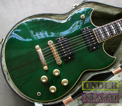 Used 1982 YAMAHA SG1500 Green Electric Guitar HH Rose FB W/OHSC Free Shipping