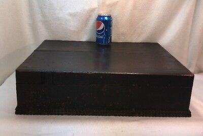 Vtg Antique Victorian Wood Spool Sewing Store Display Case Box Handles Carved