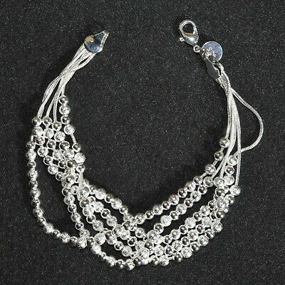 Art Deco Bracelet 925 Silver Plated 5 Row Chain Small Round Vintage Style Gift