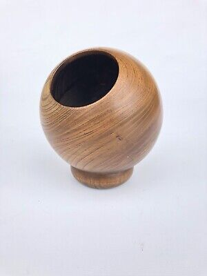 """Mid Century Modern Danish Wood Sphere Pencil Holder About 6"""" Adorable"""