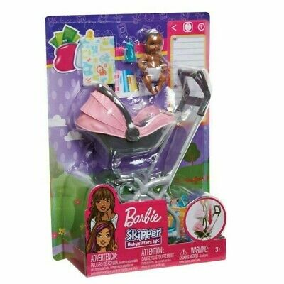 Barbie Skipper Babysitters Inc Baby With Carrier / Stroller 100% Brand New