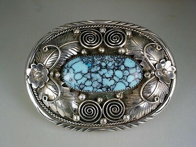 Ornate Old Navajo Sterling Silver & Spiderwebbed Turquoise Belt Buckle