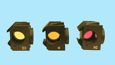 Leitz Microscope Cube Filter Blocks H, N2, E3 Set of 3, Leica, Wild
