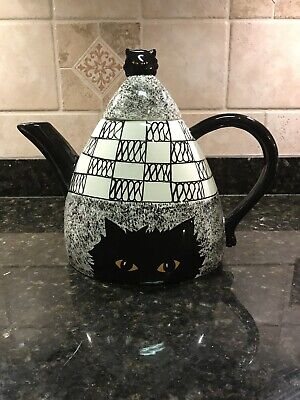Cats By Nina Ceramic Teapot With Lid Spooky Kitty Black White