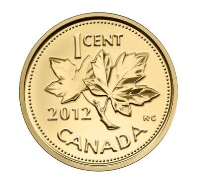 2012 Canada Gold Penny Farewell 1 Cent 1/25oz Pure 24k