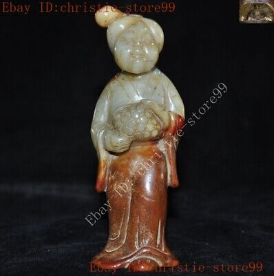 chinese Tang Dynasty Hetian old  jade Hand carved  people beauty goddess statue
