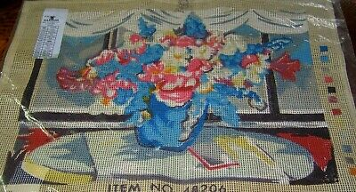 Tapestry Canvas Still Life Vase Blue Pink White Flowers Soft Focus Color Printed