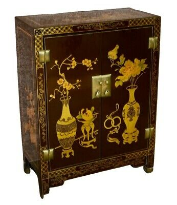 Vintage Two Door Hand Painted Asian Style Cabinet