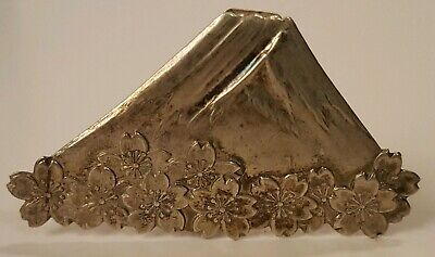 Sterling Silver Asian Theme Mountain & Flowers Place Card Holder
