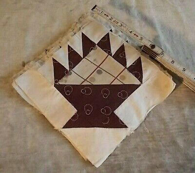 """Great Collection 16 Hand-Pieced Basket Pattern Quilt Squares Brown Fabrics 8"""""""