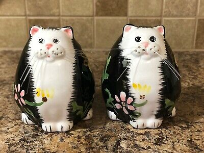 Vintage Floral Porcelain Cat Salt And Pepper Shakers With Fishing Wire Whiskers