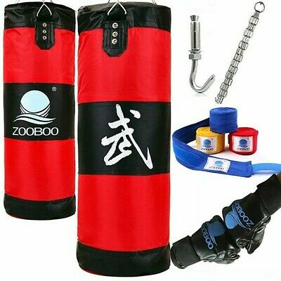 PUNCHING BAG w/ 2 PAIRS OF BOXING GLOVES MMA Training Heavy Duty Hook Hanging