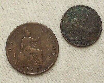 Lot of 2 Coins ~ 1861 Great Britain Half Penny ~ 1866 Farthing ~ England British