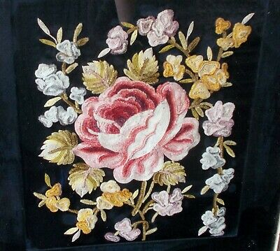 Antique CHINA Chinese EMBROIDERY TEXTILE Forbidden Stitch QING Rose Flowers