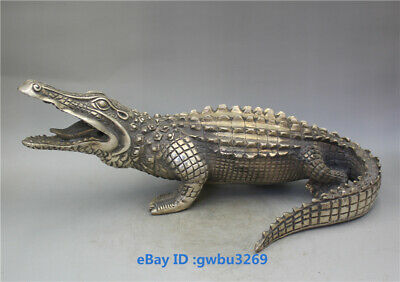 Collection Chinese old Tibet silver Handwork carved Crocodile Statues