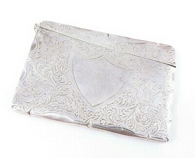Vintage Antique English Sterling Silver Calling Card Case Holder