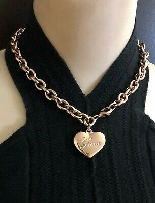"""16""""~Guess Rose Gold Tone Charm  Heart Link  Necklace~ Logo On The Heart Pendant"""