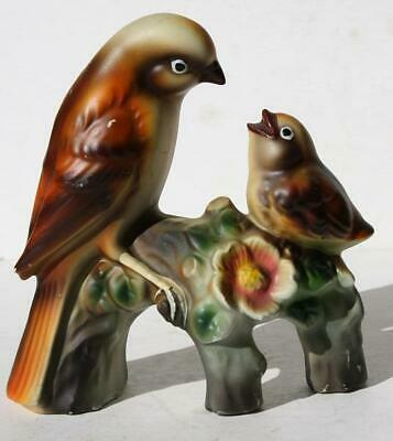 Bird Figurine Double Birds Norleans Ceramic-Porcelain Hand Painted Japan-Label