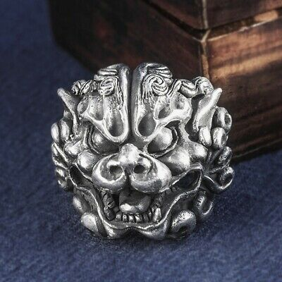 solid 999 Sterling Silver biker punk MENS handmade lion king rings ring S4765