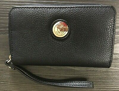 Tommy Hilfiger Women's Faux Leather Zip Around Wallet Black - Purse with strap