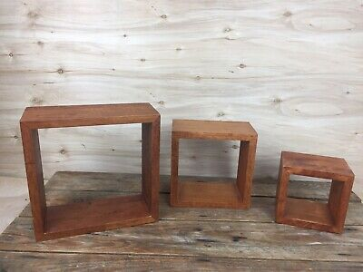 Set of 3 Wood Floating Display Shelves Wall Mounted Square Cube Shadow Boxes