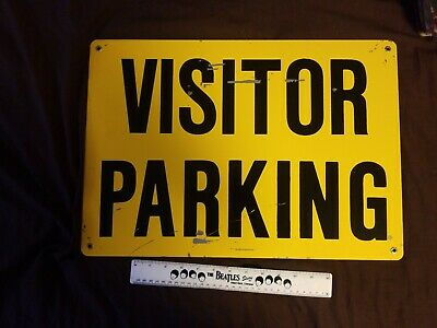 Nice Vintage Porcelain Sign - 20x14 - Visitor Parm 3lbs industrial Yellow