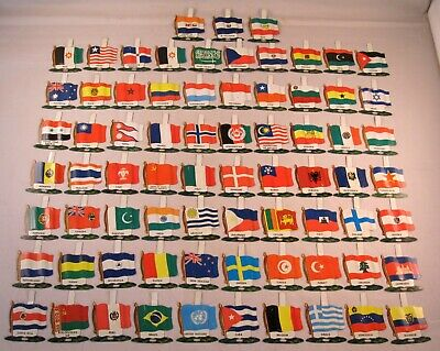 1950's Nabisco Cereal Premium Tin Pin Flags International Countries Lot of 73!