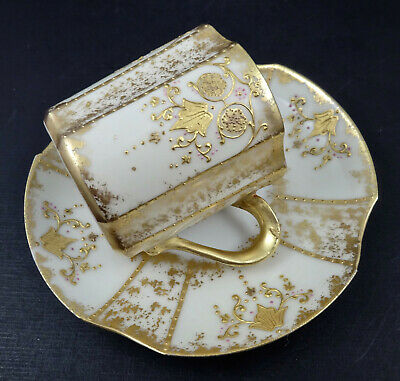 Antique Limoges Demitasse Cup & Saucer Raised Gold