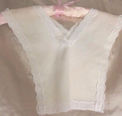 Vintage Baby Bib  White Cotton & Lace