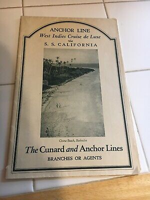 Vintage 1926 Cunard And Anchor Line SS California West Indies Cruise Pull Out