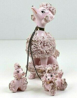 Vintage Japan Lot Of Spaghetti Porcelain Poodles Pink Puppies On Chains