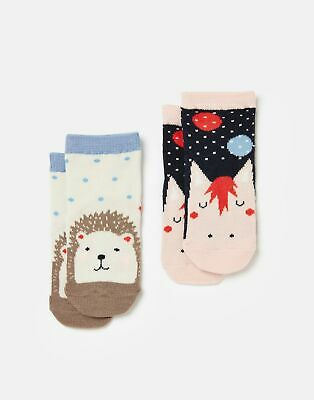 Joules Baby Girls Neat Feet 2 Pack Character Socks - MULTI HORSE HEDGEHOG