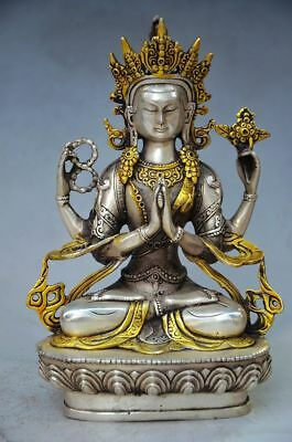 Chinese Old Tibet Silver Gilt Handwork Carved Tibetan Buddhism Statue  Z01